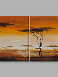 cheap -IARTS® Hand Painted Abstract Oil Painting The Beautiful Golden Sun Set View Set of 2 with Stretched Frame For Home Decoration Ready To Hang