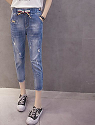 Women's Medium Waist Micro-elastic Bootcut Pants,Cute Simple Pencil Denim Solid Jeans