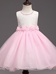 Ball Gown Short / Mini Flower Girl Dress - Organza Sleeveless Jewel Neck with Pearl by YDN