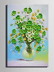 Недорогие -Hang-роспись маслом Ручная роспись - Цветочные мотивы / ботанический Ретро холст