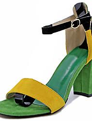 Women's Sandals Comfort Summer Rubber Walking Shoes Outdoor Buckle Chunky Heel Green Light Brown Under 1in