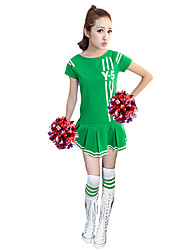 Costumes de Pom-Pom Girl Robes Femme Spectacle Polyester 1 Pièce Manche courte Taille haute Robes