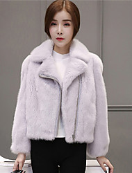 cheap -Women's Faux Fur Fur Coat - Solid Colored, Fur Trim Shirt Collar