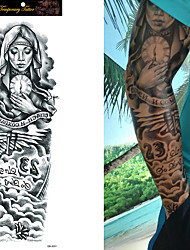 cheap -Tattoo Sticker Arm Temporary Tattoos 1/4/8 pcs Roses / Skull / Flower Black Waterproof / Non Toxic / Large Size Body Arts