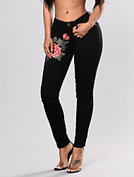 cheap -Women's Plus Size Skinny Jeans Pants - Embroidered High Waist