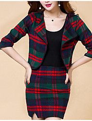 cheap -Women's Daily Modern/Contemporary Spring Blazer Skirt Suits,Print Plaid/Check Shirt Collar Half Sleeves 100% Cotton