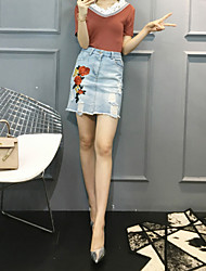 Women's Casual/Daily Simple Summer Blouse Skirt Suits,Solid V Neck Short Sleeve Lace Micro-elastic