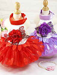 abordables -Chien Smoking Robe Vêtements pour Chien Mariage Floral/Botanique Violet Rouge Costume Pour les animaux domestiques