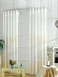 Rod Pocket Grommet Top Curtain Flower Pastoral , Embroidery Embroidered Living Room Material Sheer Curtains Shades Home Decoration