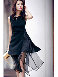 AGD Women's Going out Casual/Daily Sexy Simple Sheath Little Black Chiffon DressSolid Round Neck Knee-length SleevelessCotton Polyester