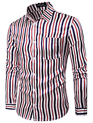 cheap -Men's Daily Chinoiserie Shirt,Check Classic Collar Long Sleeves Cotton