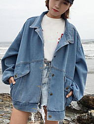 cheap -Women's Daily Modern/Contemporary Spring Denim Jacket,Print Letter Shirt Collar Long Sleeve Long Polyester Others
