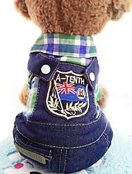 economico -Cane Tuta Abbigliamento per cani Casual Jeans Viola Rosso Verde Costume Per animali domestici