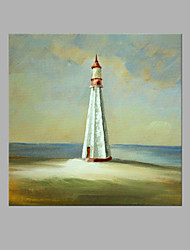 cheap -IARTS® Hand Painted Abstract Oil Painting Modern Light House Island Painting with Stretched Frame For Home Decoration Ready To Hang