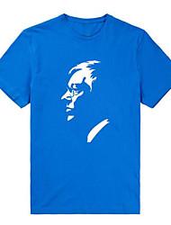 baratos -Homens Camiseta Estampado Jacquard, Retrato Algodão Decote Redondo