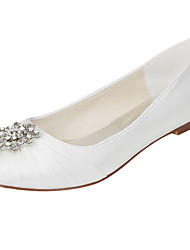 cheap -Women's Flats Light Soles Stretch Satin Spring Fall Wedding Party & Evening Light Soles Crystal Flat Heel Ivory Flat