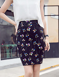 Women's Daily Above Knee Skirts,Vintage Street chic Slim Knitwear Print Spring, Fall, Winter, Summer