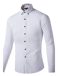 Hot Sale High Quality  Men's Casual/Daily Work Vintage Active Summer Shirt Print Standing Collar Long Sleeve Cotton Thin Dress Shirt