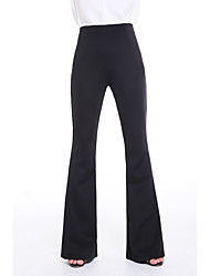 Women's High Waist Micro-elastic Straight Pants,Simple Bootcut Solid