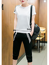 cheap -Women's Summer Blouse Pant Suits Round Neck Short Sleeve Fabric
