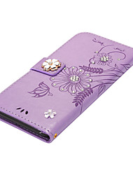 billige -Etui til Apple iPhone 7plus 7 Kort Holder Tegnebog Rhinestone med Stativ Flip Magnetisk Full Body Butterfly Flower Hard PU Læder 6splus