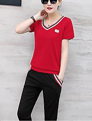 Недорогие -Для женщин На каждый день Лето Как у футболки Брюки Костюмы Круглый вырез,Простой Однотонный С короткими рукавами