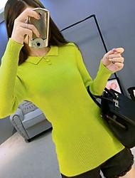 cheap -Women's Long Sleeves Wool Pullover - Solid Shirt Collar