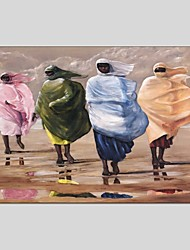 cheap -Hand-Painted People Horizontal Panoramic, Abstract Canvas Oil Painting Home Decoration One Panel