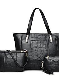 baratos -Mulheres Bolsas PU Conjuntos de saco Ziper Preto / Vermelho / Cinzento