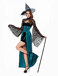 Недорогие -ведьма Косплэй Kостюмы Жен. Хэллоуин Фестиваль / праздник Инвентарь Синий