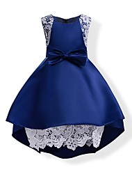 cheap -Girl's Solid Dress,Cotton Polyester Summer Sleeveless Bow Blue Blushing Pink