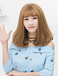 Cheap Women Synthetic Wigs Medium Dark Chestnut Brown Grey Straight Middle Part Bob Haircut With Bangs Natural Lolita Wig
