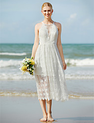 A-Line Jewel Neck Tea Length Lace Wedding Dress with Lace by LAN TING BRIDE®