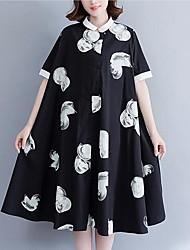 Women's Daily Casual Loose Dress,Floral Shirt Collar Midi Short Sleeves Cotton Summer Mid Rise Inelastic Medium