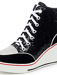 cheap -Women's Paillette / Suede Fall / Winter Fashion Boots Sneakers Platform / Wedge Heel Round Toe / Closed Toe Sequin / Lace-up Black / Silver / Pink