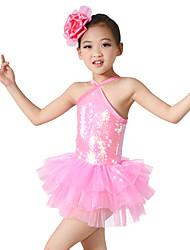 economico -Danza classica Abiti Per bambini Da esibizione Elastene Poliester Paillettes Incrociato 2 pezzi Senza maniche NaturaleAbito Accessori per