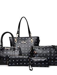 cheap -Women Bags PU Bag Set Zipper for Casual Office & Career All Seasons Blue White Black Red Light Green