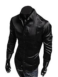 cheap -Men's Daily Active Spring Fall Shirt,Solid V Neck Long Sleeves Organic Cotton Medium