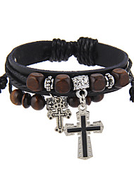 cheap -Men's Women's Leather Bracelet Jewelry Vintage Natural Friendship Movie Jewelry Hip-Hop Gothic Stretch Basketwork Leather Aluminium Cross