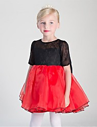 cheap -Ball Gown Short / Mini Flower Girl Dress - Lace Organza Satin Chiffon Half Sleeves Jewel Neck with Lace by Embroidered Bridal