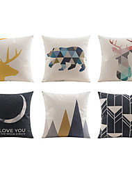 cheap -6 pcs Linen Pillow case Bed Pillow Body Pillow Travel Pillow Sofa Cushion Pillow Cover,Geometric Animal PlainCasual/Daily