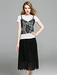 YIYEXINXIANGWomen's Casual/Daily Work Party Sophisticated Summer T-shirt Skirt SuitsFloral Round Neck Short Sleeve Lace strenchy