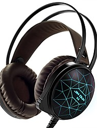 Stereo PC Gaming Headset 7 Colors Breathing LED Light Over-ear Headphones with Microphone Inflected for Comtuper Games