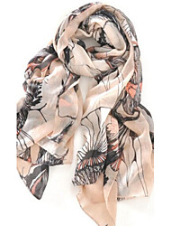 Voile Scarf Begonia Flowers Vacation Large Thin Bohemia Shawl Women's Beach UV Scarves Long Rectangle Lady's Valentine Christmas Gift