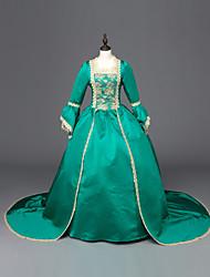 preiswerte -Viktorianisch Rokoko Kostüm Damen Kleid Maskerade Party Kostüme Grün Vintage Cosplay Satin Langarm Boden-Länge