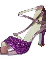 Damen Latin Kunstleder Sandalen Sneakers Professionell Verschlussschnalle Niedriger Heel Purpur Grün 5 - 6,8 cm Maßfertigung
