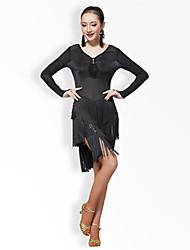 billige -Skal vi latin danse kjole kvinders ydeevne tulle / mælk fiber kvast / solid / sort