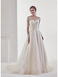 uma linha de joalharia do pescoço tribunal trem renda vestido de casamento de tule com renda por md