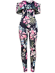 Women's Boat Neck High Rise Beach Holiday Boho Skinny Floral Ruffle Floral Summer Jumpsuits