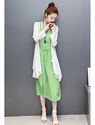 Women's Casual/Daily Dresses Summer Blouse Dress Suits,Solid Round Neck Long Sleeve